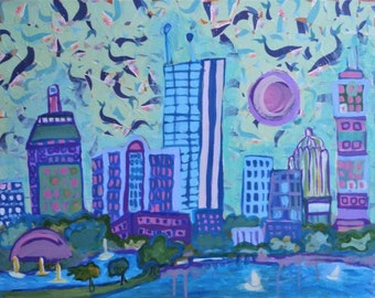"Boston Thirteen, an original 16"" x 20"" painting on canvas, acrylic and collage, boston skyline, prudential, hancock, buildings"
