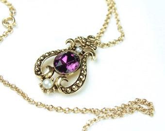 Vintage Avon Amethyst Rhinestone & Pearl Gold  Necklace # 767