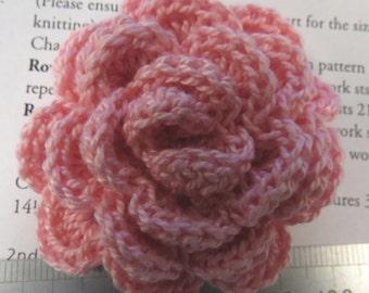Irish crochet flower brooch in pink