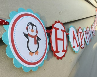 Cool Penguin Happy Birthday Banner Red and Aqua