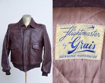 1950s Horsehide Bomber Jacket Oxblood Flightmaster by Grais Leather Flight Jacket