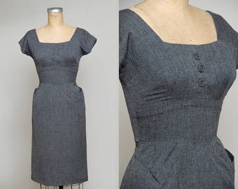 1950s Modern Grey Knit Sleek Lines Jean of California Fitted Wiggle Dress