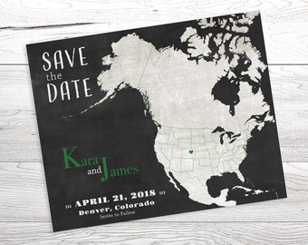 Save the Date Card Design, Save the Date Map, Custom Save the Date