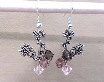Silver Plated Abstract Flower Pierced Earrings with Shades of Purple Crystals, Handmade Original Fashion Jewelry, Unique Ladies Gift Idea