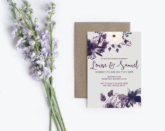 Printed Floral Calligraphy Wedding Stationery Set | Lainie