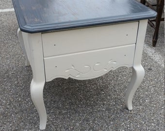 Two Toned Gray and Brown Shabby Stained One Drawer Side Table Nighstand Bedside Table with a Pop Of Color