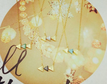 Triad Gemstone Necklace, Gemstone Necklace, Triangle Necklace, Dainty Necklace