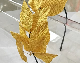 Gold Leaves Black Satin Headband, for weddings, parties, evening, cocktail, special occasions