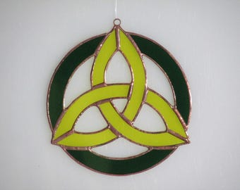Stained Glass Yellow and Green Celtic Triad Suncatcher - Price Includes Shipping
