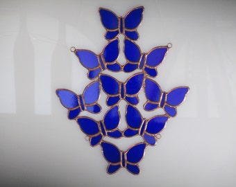 Cobalt Blue Butterflishy Stained Glass Suncatcher - Price Includes Shipping