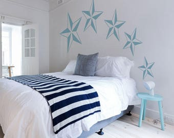 Nautical Star Stencil from The Stencil Studio. Reusable home decor & DIY stencils, simple to use. 10639