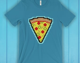 Pizza T-Shirt, Unisex Graphic T Shirt, Women's T Shirt, Men's T Shirt, available in 20 colors - Pixel Pizza T-shirt, 8bit T-shirt