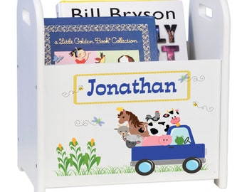 Custom Little Blue Truck Book Caddy Magazine Rack personalized nook storage bookends Boys Nursery Bed Room animals Gift barn CADD-244