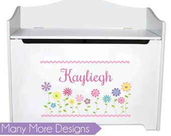 Girls Personalized Toy Box Custom Toybox Bench Childs Toy Storage Toy Chest Toys Boxes any design Bin Toys Play Room Bed Nursery BENC-whi