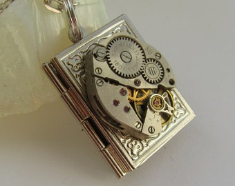 Steampunk book locket necklace with watch  movement Gift for Her Birthday gift Women gift ideas Photo locket necklace Picture locket