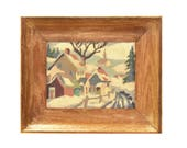 Small 1940's Oil Painting - New England Townscape in Snow - Vintage Oil Painting