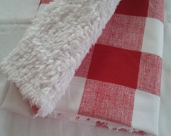 red rustic fur, baby blanket, buffalo check, woodland blanket