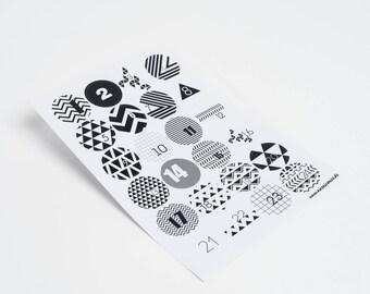 advent calender sticker geometric