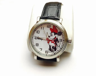 Large Vintage Minnie Mouse Watch, black leather band, Collectors, Clearance Sale, Item No. B200