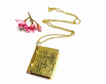 Vintage Book/locket Necklace, antique gold tone, Hinged, Spring Sale, item No. B201b