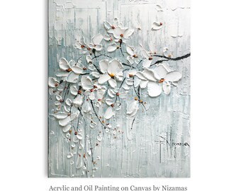 Acrylic and Oil Painting Blooming Cherry by Nizamas Ready to Hang grey white light blue
