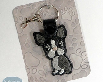 Boston Terrier Key Chain, Dog Breed Key Fob, Purse Charm