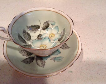 Lovely mint green double paragon bone china tea cup and saucer