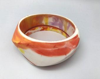 Orange and White Marbled Resin Swirl Bangle