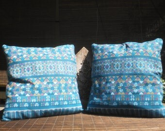 Thai Traditional Print Fabric Cushion Covers, Set Of 2 Covers, Green/Blue Pill, Tribal Pillow, Thai Pillow,