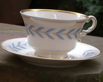 "Old Ivory ""Syracuse China"" Tea Cup and Saucer Made in America ~ Footed Tea Cup with Matching Saucer"