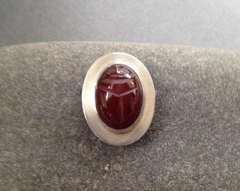 Craved carnelian scarab beetle sterling pendant
