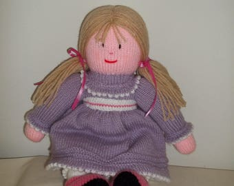 Knitted Doll in Purple Dress