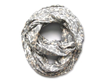 Women's Leopard Scarf, Infinity Scarf, Gift for Her, Double Loop Scarf, Girlfriend Gift, Mommy and Me, Under 15 Dollars, Ready to Ship