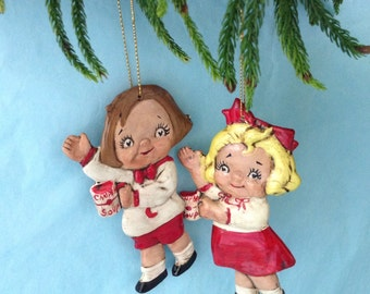 Campbell's Kids Ornaments - Christmas Ornament - vintage -  hand painted - collectible - Holiday decor - Vintage Christmas - Kids ornaments