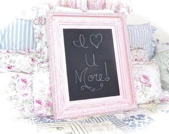 NEW ITEM Shabby Rose Petal Pink Ornate Large Chalkboard Ornate Baroque Frame Home Organization Wall Bridal Sign Decor Cottage Chic Wedding