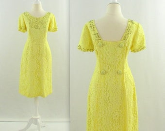 ON SALE Limoncello Lace Dress - Vintage 1960s Lemon Yellow Beaded Dress w/ Train - Small by Perfect Junior
