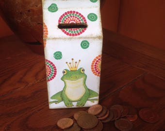 Decoupaged  Money Box, Money Bank Prince the Frog