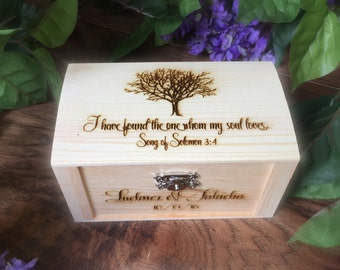 Ring Box, Wedding Ring Box, Rustic Wedding, Song of Solomon, I Have Found the One, Weddings,Wooden Ring Box, Burlap Pillow, Personalized