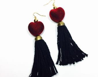 Velvet Heart Tassel Earrings