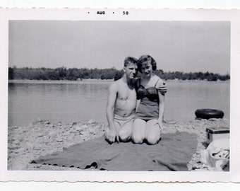 August 1958 Couple Wearing Swimsuits On The Beach Vintage Snapshot Summer Fashion Photo Bathing Suits Mid Century Modern Photograph