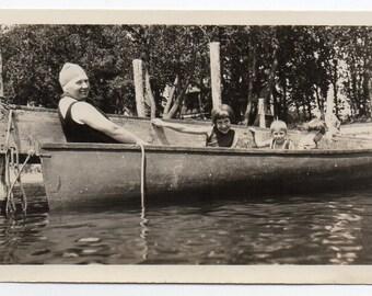 Woman Wearing Swim Cap And Children In Rowboat Antique Photo Boat Boating Memorabilia Black And White Photograph Beachwear Fashion