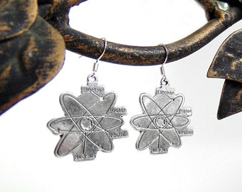 Science Earrings - Atoms - Atomic Symbol Earrings in Silver
