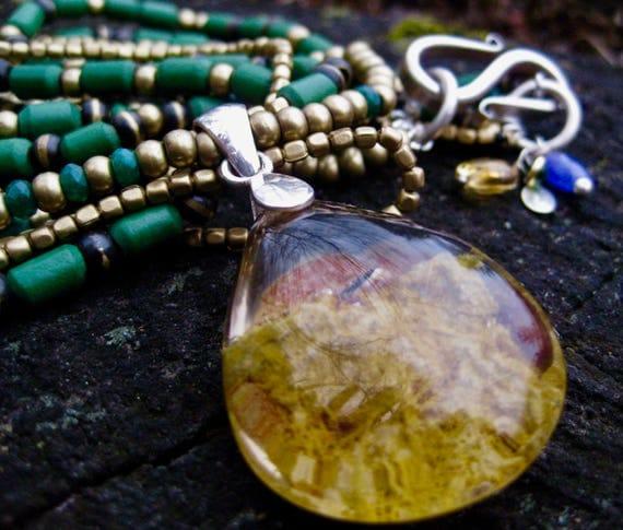 GUNJAN   Amazonite, Emeralds, Brass & Sterling Silver Multi Strand Lodolite Pendant Necklace