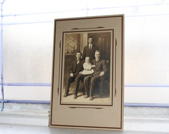Edwardian Family Cabinet Card Photograph Antique