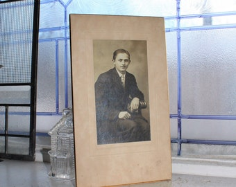 Antique Photograph Young Man Cabinet Card 9 x 5.25 Inches