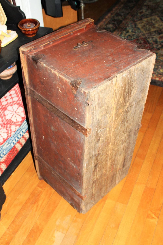 Antique 1800s Wood Trunk Wooden Scandinavian Immigrant Chest