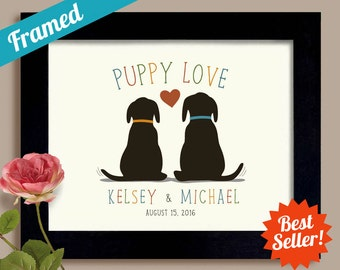 Dog Lover Wedding Gift Idea Puppy Love Labrador Retriever Unique Engagement Gift Personalized Framed Gift Art Print Couples Gift Newlyweds