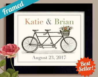 Tandem Bike Wedding Gift for Newlyweds First Anniversary Gift Engagement Gift Personalized Wedding Art Newlywed Gift Bicycle Built for Two