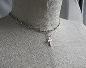 Silver Choker with crystals and a Dangle Cross Charm