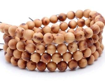 108PCS 8mm Aromatic Sandalwood Thuja Sutchuenensis Grade AA Prayer Buddha Mala Meditation Beads Round Loose Beads BULK LOT (90182695-392)
